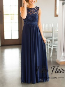 Elegant A Line Round Neck Open Back Navy Lace Long Bridesmaid Dresses