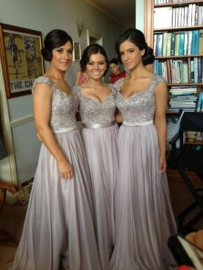 Elegant A Line V Neck Open Back Grey Lace Long Bridesmaid Dresses with Beading