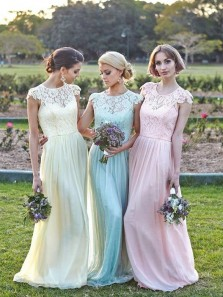 Elegant A Line Round Neck Pink Lace Cap Sleeves Long Bridesmaid Dresses