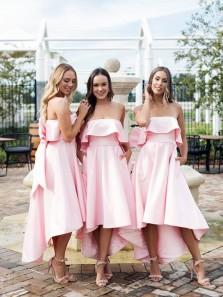Elegant A Line Sweetheart Satin Pink Tea Length Bridesmaid Dresses with Big Bow