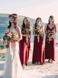 Elegant Sheath V Neck Slit Burgundy Chiffon Long Bridesmaid Dresses Under 100 BD0825008