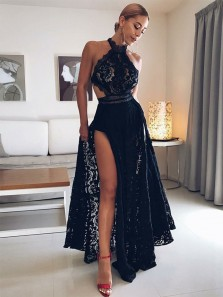 Charming A Line Halter Open Back Slit Black Lace Long Prom Dresses, Sexy Evening Party Dresses