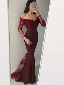 Charming Mermaid Off the Shoulder Long Sleeves Burgundy Long Sleeves Lace Long Prom Dresses, Elegant Evening Dresses
