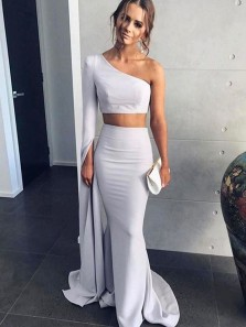 Charming Mermaid Two Piece One Shoulder Long Sleeves Grey Long Prom Dresses, Formal Evening Dresses