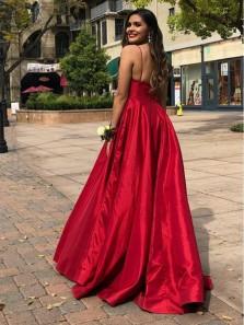 Gorgeosu Ball Gown V Neck Spaghetti Straps Open Back Red Satin Long Prom Dresses, Elegant Evening Dresses