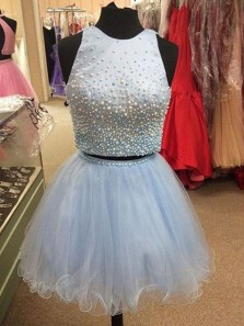 Cute A Line Two Piece Round Neck Open Back Light Blue Beaded Short Homecoming Dresses, Pretty Prom Dresses HD0828001