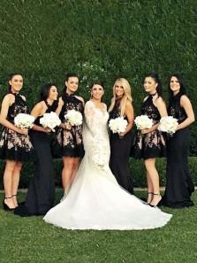 Elegant A Line Halter Open Back Black Lace Short Bridesmaid Dresses
