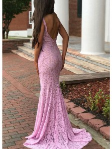 Charming Mermaid V Neck Backless Lilac Lace Long Prom Dresses with Beading, Formal Elegant Evening Dresses PD0828006