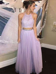 Gorgeous A Line Two Piece Halter Backless Lavender Lace Long Prom Dresses with Beading, Sparkly Party Dresses PD0828007