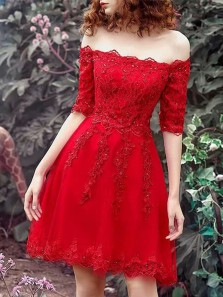 Elegant A Line Off the Shoulder Half Sleeves Beaded Red Lace Short Homecoming Dresses with Appliques, Formal Short Prom Dresses HD0828001