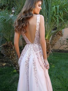 Gorgeous A Line V Neck Backless Peal Pink Long Prom Dresses, Formal Evening Dresses with Sequins
