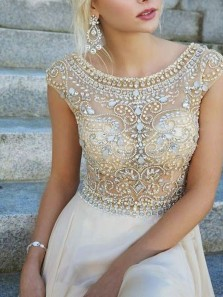 Gorgeous A Line Scoop Open Back Champagne Beaded Long Prom Dresses, Elegant Long Evening Dresses