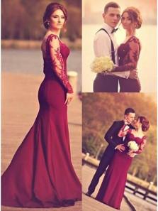 Elegant Mermaid Sweetheart Open Back Long Sleeves Burgundy Lace Long Prom Dresses, Popular Evening Dresses PD0828004