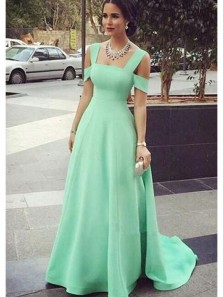 Charming A Line Square Neck Open Back Green Long Prom Dresses with Train, Formal Elegant Evening Dresses PD0828005