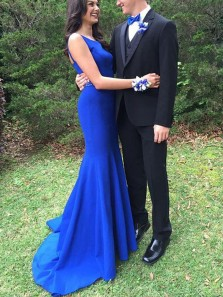 Charming Mermaid Round Neck Open Back Royal Blue Long Prom Dresses with Beading, Elegant Evening Dresses