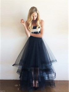 Cute A Line Sweetheart Open Back Navy Tulle Asymmetrical Long Prom Dresses, Unique Evening Party Dresses