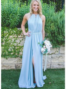 Charming Sheath Halter Open Back Chiffon Split Light Blue Long Bridesmaid Dresses Under 100