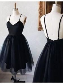 Cute A Line V Neck Spaghetti Straps Backless Organza Black Short Homecoming Dresses Under 100, Little Black Dresses