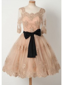 Elegant A Line Square Open Back Long Sleeves Peach Lace Short Homecoming Dresses, Quinceanera Dresses