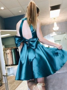Cute A Line Two Piece Halter Open Back Jade Satin Short Homecoming Dresses with Bow, Foraml Short Prom Dresses Under 100