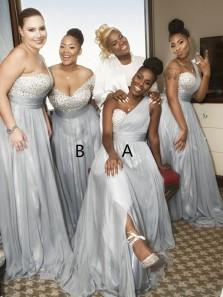 Gorgeous A Line Sweetheart Grey Beading Long Bridesmaid Dresses BD0829002