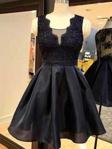 Gorgeous A Line V Neck Organza Black Lace Short Homecoming Dresses, Vintage Party Dresses HD0829007