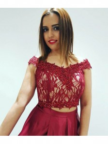 Charming A Line Two Piece Off the Shoulder Open Back Burgundy Lace Long Prom Dresses with Beading, Elegant Evening Dresses