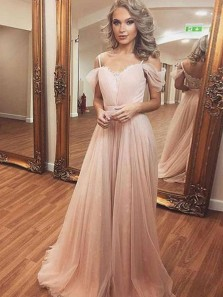 Charming A Line Off the Shoulder Spaghetti Straps Peal Pink Lace Long Prom Dresses, Elegant Evening Dresses