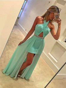 Charming A Sheath Halter Backless Chiffon Mint Long Prom Dresses with Beading, Evening Party Dresses