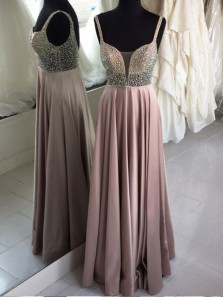 Unique A Line Sweetheart Spaghetti Straps Open Back Beaded Long Prom Dresses, Formal Evening Dresses