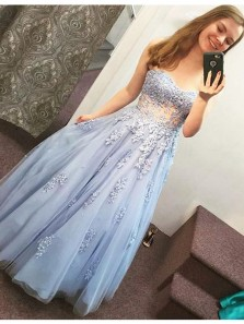 Gorgeous A Line Sweetheart Open Back Light Blue Beaded Lace Long Prom Dresses with Appliques, Beautiful Princess Dresses PD0829011