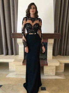 Unique Mermaid Round Neck Long Sleeves Black Lace Long Prom Dresses with Metal Belt, Evening Dresses PD0829016