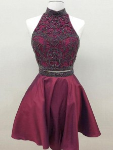 A Line Two Piece Round Neck Open Back Burgundy Short Homecoming Dresses with Beading, Formal Short Prom Dresses