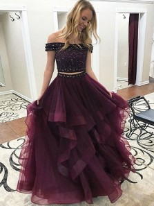 Gorgeous Ball Gown Two Piece Off the Shoulder Grape Tulle Long Prom Dresses with Beading, Quinceanera Dresses PD0829014