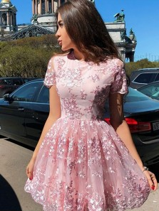 Cute A Line Round Neck Cap Sleeves Pink Lace Short Homecoming Dresses, Formal Short Prom Dresses