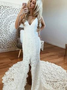 Elegant Mermaid V Neck Open Back Spaghetti Straps Open Back Split Lace Long Wedding Dresses with Court Train