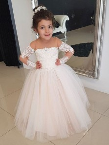 Cute A Line Round Neck Long Sleeves Lace Long Flower Girl Dresses