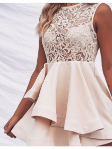 Elegant A Line Roun Neck Apricot Satin Lace Short Homecoming Dresses, Short Prom Dresses