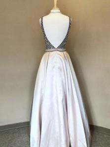 Elegant A Line V Neck Backless Satin Grey Beaded Long Prom Dresses, Formal Evening Dresses