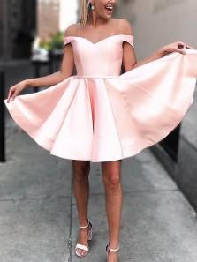 Cute A Line Off the Shoulder Open Back Pink Satin Short Homecoming Dresses, Short Prom Dresses HD0830002