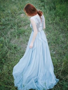 Fairy A Line Round Neck Chiffon Blue Lace Long Wedding Dresses