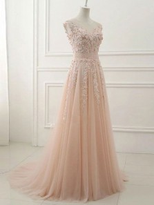 Elegant A Line Round Neck Open Back Peach Lace Long Prom Dresses with Beading, Formal Evening Dresses
