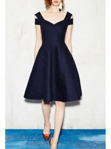 Cute A Line Round Neck Navy Satin Short Homecoming Dresses, Short Prom Dresses Under 100