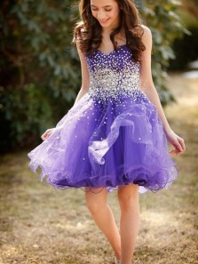 Cute A Line Sweetheart Strapless Lavender Beaded Short Homecoming Dresses, Short Prom Dresses