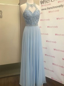 Charming A Line Round Neck Open Back Light Blue Long Prom Dresses with Beading, Formal Elegant Evening Dresses PD0830007