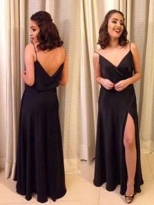 Charming Sheath V Neck Spaghetti Straps Backless Split Black Long Prom Dresses, Sexy Evening Dresses Under 100 PD0831007
