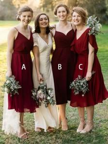 Elegant Sheath V Neck Chiffon Burgundy Tea Length Bridesmaid Dresses Under 100