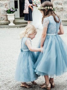 Cute A Line Round Neck Short Sleeves Tulle Blue Lace Flower Girl Dresses