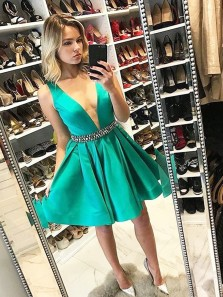 Cute A Line V Neck Open Back Green Satin Short Homecoming Dresses with Beading, Short Prom Dresses