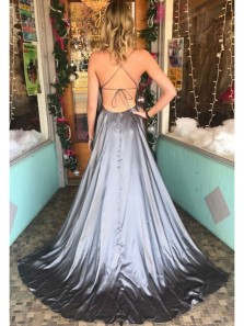 Gorgeous A Line Spaghetti Straps Backless Grey Satin Long Prom Dresses with Train, Elegant Evening Dresses